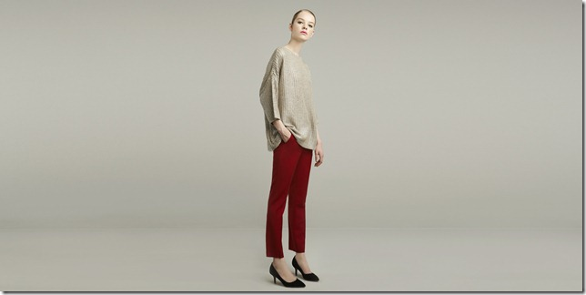 red capri pants and gold lurex knit sweater