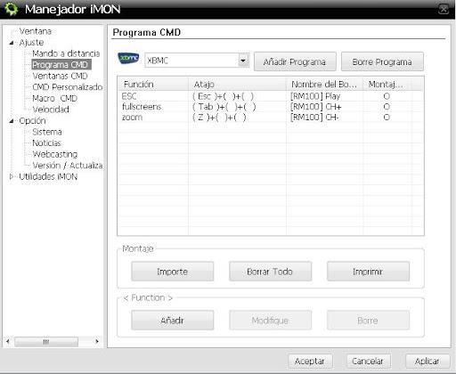 Configuración de teclas en mando IMON Mini