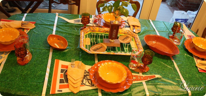 Super Bowl Tablescape-Bargain Decorating with Laurie
