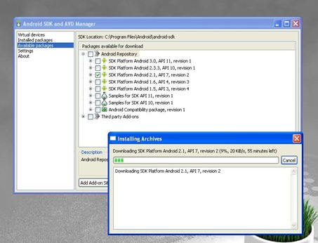 android sdk download 20kb per second