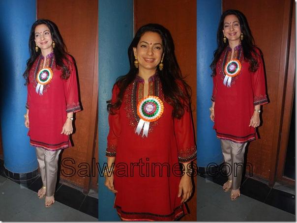 Juhi_Chawla_Red_Designer_Salwar_Kameez