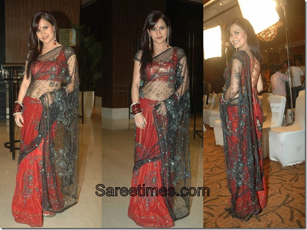 Liza_Mallik_Black_Red_Designer_Saree