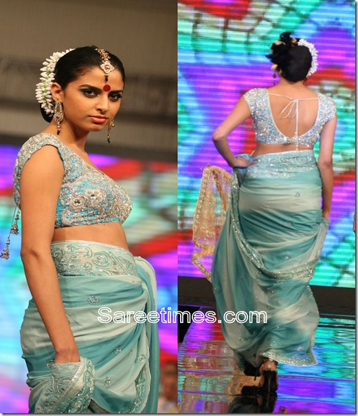 Blue_Cream_Designer_Saree