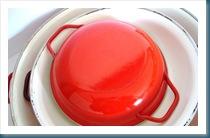 red enamelware pans