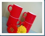 red vintage mugs