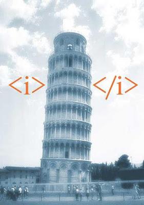 Torre de Pizza em itálico