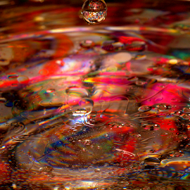 Crazy Waters by Janet Lyle - Abstract Water Drops & Splashes ( water, splash, colors, droplets )