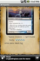 Screenshot of MTGpedia