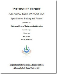 Nbp Internship Report Front Page