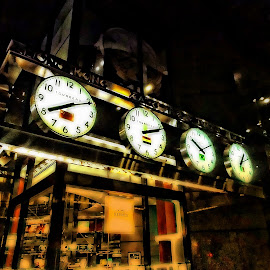 World Time by Tricia Scott - Buildings & Architecture Other Exteriors ( building, time, building exterior, exterior, architecture, new york city, nyc, clocks,  )