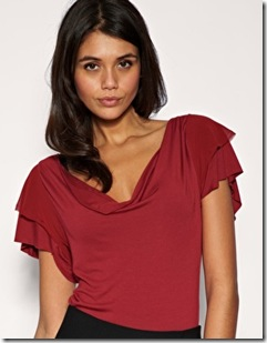 ASOS Chiffon Frill Sleeve Cowl Neck Top