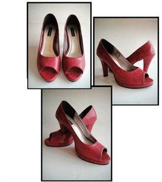 Red faux snake pumps