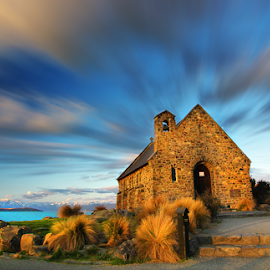 Church of Good Shepherd by Ricky Liew - Buildings & Architecture Other Exteriors ( south island, lake tekapo, long exposure, landscape, new zealand )