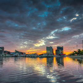 by Geoff Lawrence - City,  Street & Park  Skylines ( inner harbor, hdr, wide angle, baltimore, sunrise )