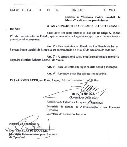 Lei 11384 - Semana Pe. Landell de Moura_RS