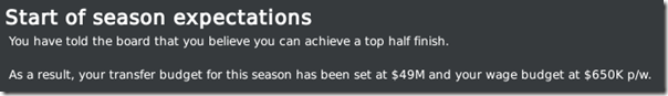 Top half finish expectations, Football Manager 2010