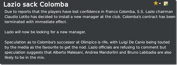 Lazio sacked Colomba in Seria A