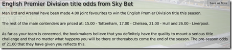English Premier Division title odds from Sky Bet