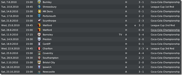 First matches in the Championship, Football Manager 2010