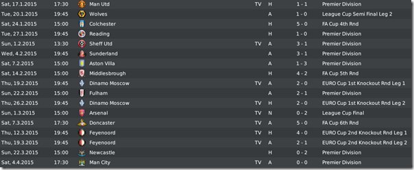 Leeds United matches in season 6, FM 2010