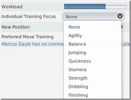 Individual training focus in FM 2011