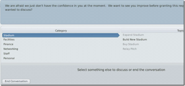 Interaction in Football Manager 2011