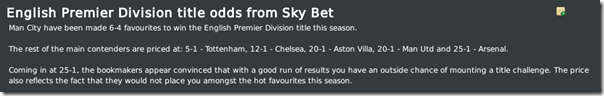 Premier League odds, FM10