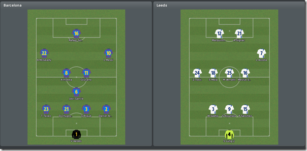 Barcelona vs Leeds, FM 10