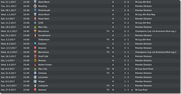 Last matches of Leeds in FM 2010