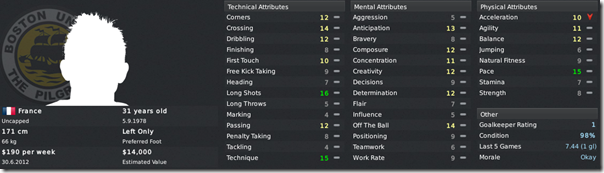 Patrick Vaz in Football Manager 2011