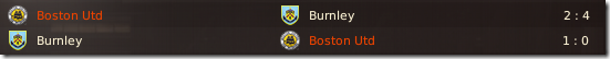 Last year results against Burnley