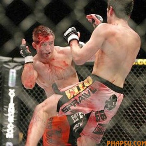 Chris Lytle is held off by the referee during his lightweight UFC bout against Josh Koscheck in Las Vegas on Saturday, July 5, 2008. Koscheck won by unanimous decision. (AP Photo/Laura Rauch)
