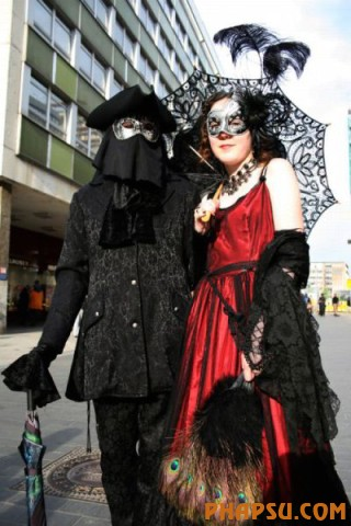 A  participant in an annual Wave-Gothic festival poses on May 30, 2009 in Leipzig, eastern Germany, where more than 20 000 people are expected to attend the festival attracting the friends of gothic romanticism. The festival offers a very special spectacle with a range of concerts, historical markets, theatre and cinema, gothic scene performances, exhibitions, readings and parties. AFP PHOTO   DDP/SEBASTIAN WILLNOW    GERMANY OUT  (Photo credit should read SEBASTIAN WILLNOW/AFP/Getty Images)