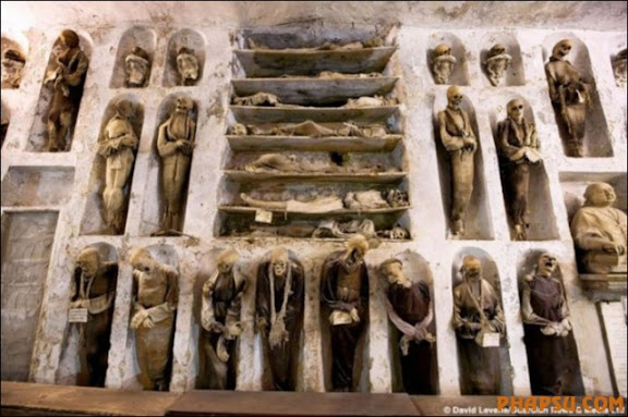 Mummy from crypt in Savoca, Sicily.   Must GIve Photo Credit to:  Ron Bowman