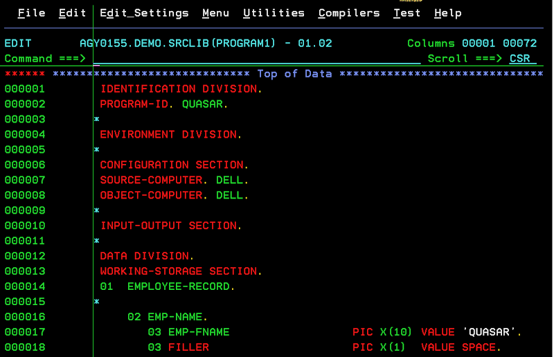 Working Storage Section Rough Work Areas In Cobol