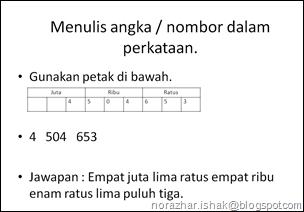 Menulis angka nombor dalam perkataan 1