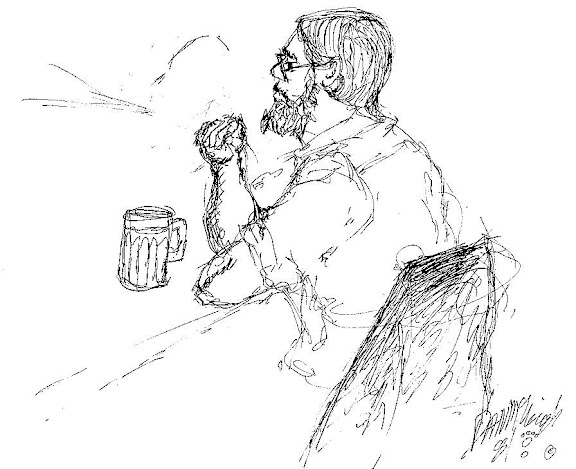 Sketch of Barry at McSorley's in 1982