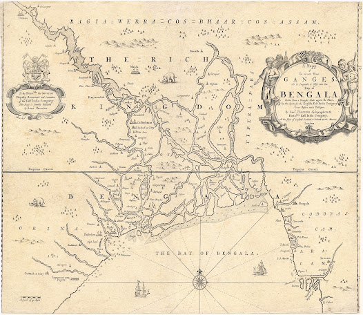John THORNTON (1641-1708).  [Bengal and parts of Odisha and Bihar]. A map of the greate river Ganges as it emptieth it selfe into the bay of Bengala, taken from a draught made uppon the place by the agents for the English East India Company never before made publique… London, 1685 / 1711. Copper engraving, 43.8 x 53.3 cm.  The earliest detailed printed English map of Bengal, made for the English East India Company by its official hydrographer John Thornton.  This elegant chart depicts Bengal and adjacent regions as the English conceived of them around 1680.  During this period, Bengal was considered to be the wealthiest region of India, its economy buoyed by the production of magnificent textiles, such as calicos and silk, while Bihar was rich in saltpeter, the main ingredient for gunpowder.   The Portuguese were the first Europeans to gain a presence in Bengal, in the 1570s. However, beginning in the 1620s, they were supplanted by both the English and the Dutch.  These players were later joined by the French, Danes and the Flemish-Austrians.