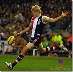 St Kilda player Nick Riewoldt heads deep into attack with a long kick. West Coast defeated St Kilda at Telstra Dome, AFL Round 21, 24 August 2007. Image: Derrick den Hollander