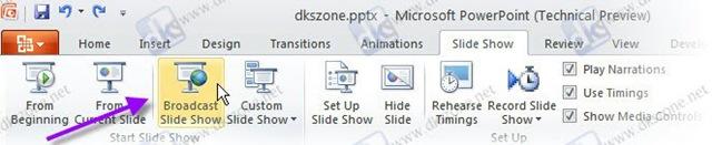 slideshow ribbon broadcast slide show