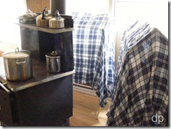 drying sheets near the stove
