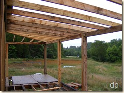 the front porch with rafters installed