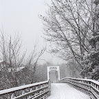 Snowy trails and bridge in Collinsville, CT