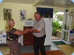 Ken Mahy and Desiree Barrows dancing to Carole Littlejohn on the keyboard
