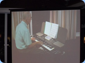 John Beales played some great songs for us on his Korg Pa500 keyboard. Seen here on the Big Screen