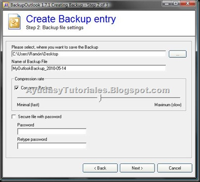 BackupOutlook - Create Backup Entry 2 - AyudasyTutoriales