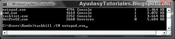 DOS - TaskKill x Nombre de Imagen - AyudasyTutoriales
