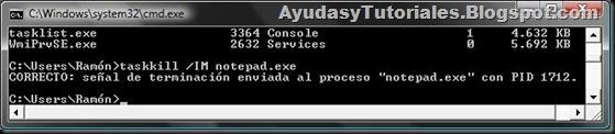 DOS - TaskKill x Nombre de Imagen Correcto - AyudasyTutoriales