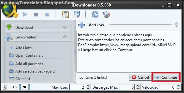 JDownloader LinkGrabber - AyudasyTutoriales