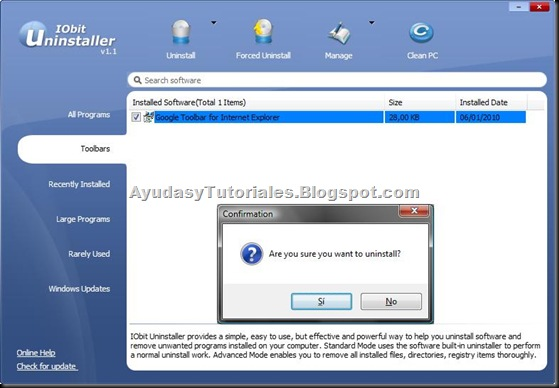 IObit Uninstaller - AyudasyTutoriales